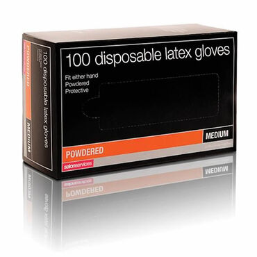 Salon Services Disposable Latex Gloves Pack of 100 - Medium