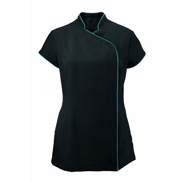 Alexandra Women's Easycare Wrap Zip Beauty Tunic - Black/Peacock