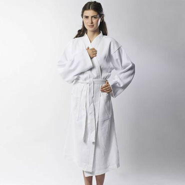 Beauty Express Waffle Robe White Medium