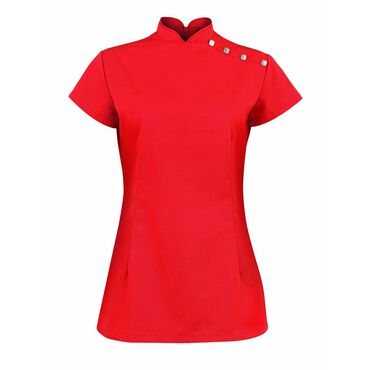 Alexandra Women's Stand Collar Beauty Tunic - Red