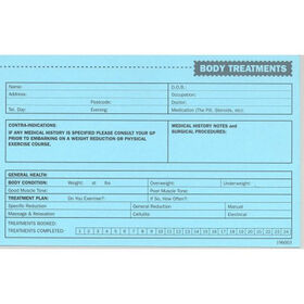 Beauty Express Body Treatment Record Cards Pack of 50