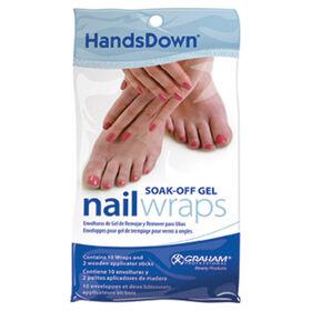 HandsDown Soak-Off Gel Nail Wraps Pack of 10 and 2 Applicators